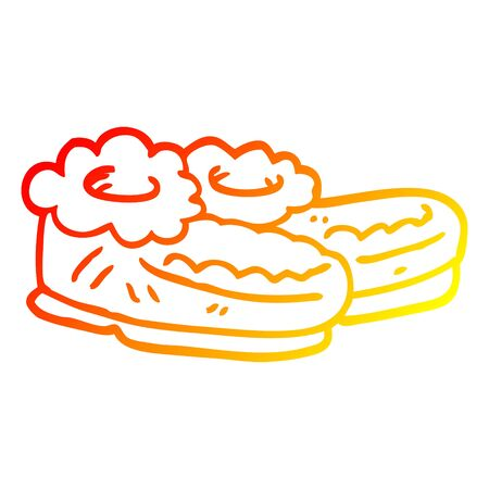 warm gradient line drawing of a cartoon comfy slippers