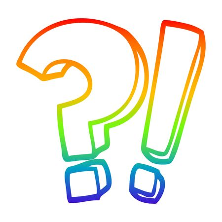 rainbow gradient line drawing of a cartoon question mark and exclamation mark