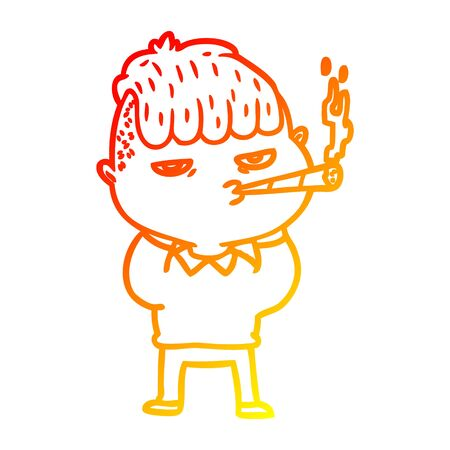 warm gradient line drawing of a cartoon man smoking Illusztráció
