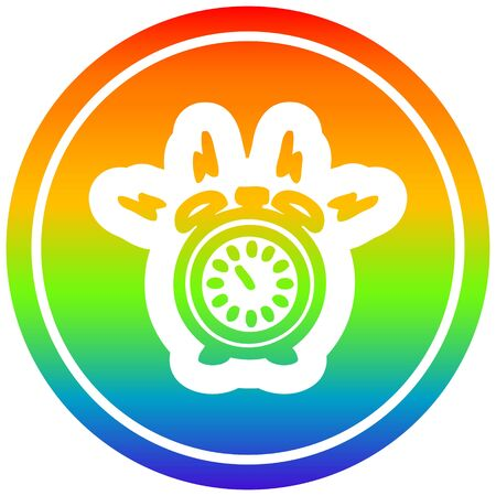alarm clock circular icon with rainbow gradient finish