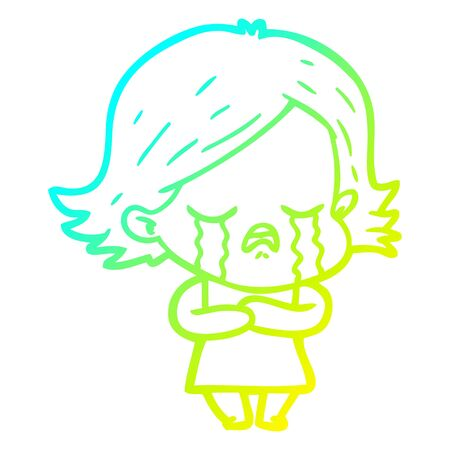 cold gradient line drawing of a cartoon girl crying