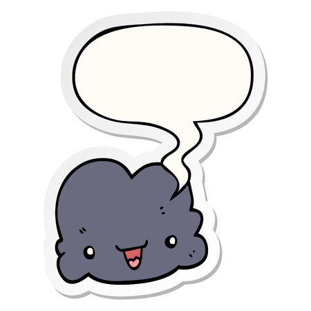 cartoon tiny happy cloud with speech bubble sticker