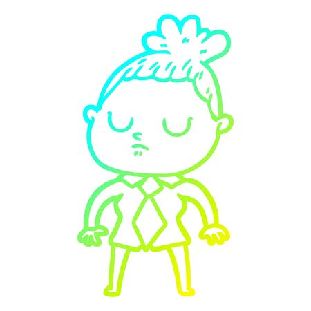 cold gradient line drawing of a cartoon calm woman 일러스트