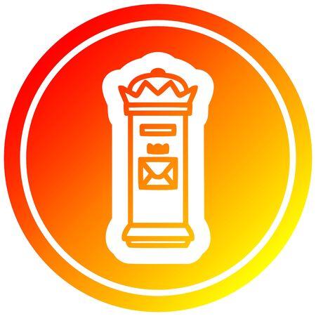 British postbox circular icon with warm gradient finish