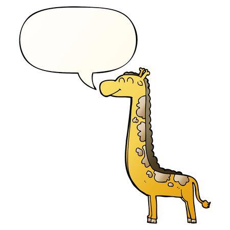cartoon giraffe with speech bubble in smooth gradient style Ilustração