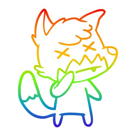 rainbow gradient line drawing of a cartoon cross eyed fox