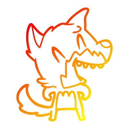 warm gradient line drawing of a laughing fox cartoon