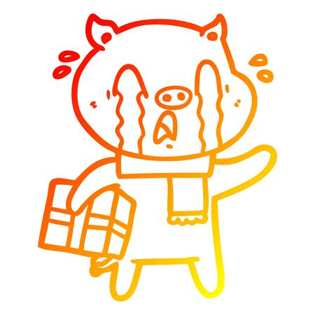 warm gradient line drawing of a crying pig cartoon delivering christmas present  イラスト・ベクター素材