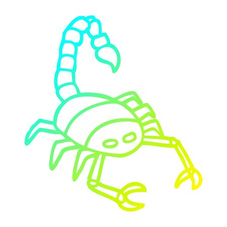 cold gradient line drawing of a cartoon scorpion Illustration