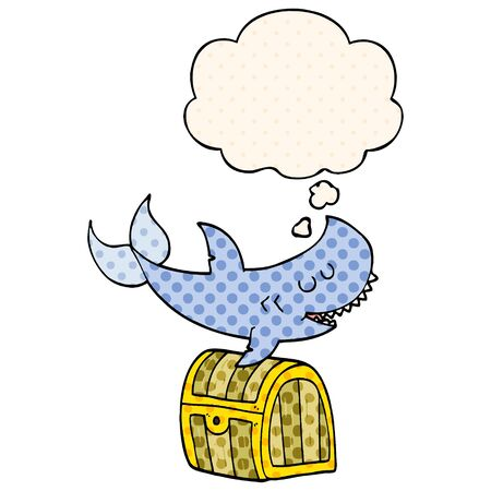 cartoon shark swimming over treasure chest with thought bubble in comic book style