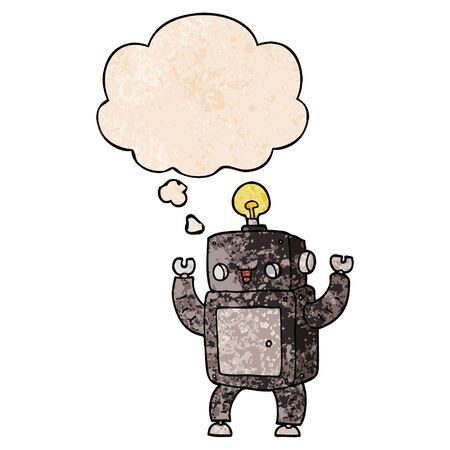 cartoon happy robot with thought bubble in grunge texture style Illusztráció