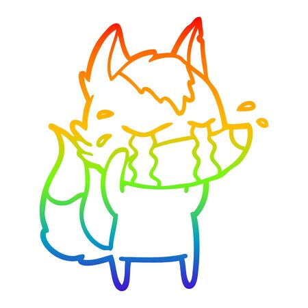 rainbow gradient line drawing of a cartoon crying wolf Vectores