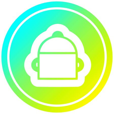 cooking pot circular icon with cool gradient finish