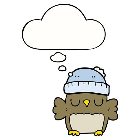 cute cartoon owl in hat with thought bubble