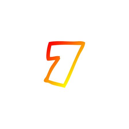 warm gradient line drawing of a cartoon number seven