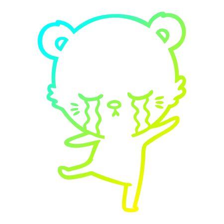 cold gradient line drawing of a crying cartoon bear balancing