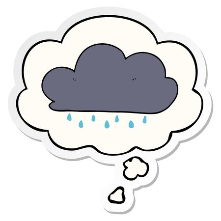 cartoon rain cloud with thought bubble as a printed sticker  イラスト・ベクター素材
