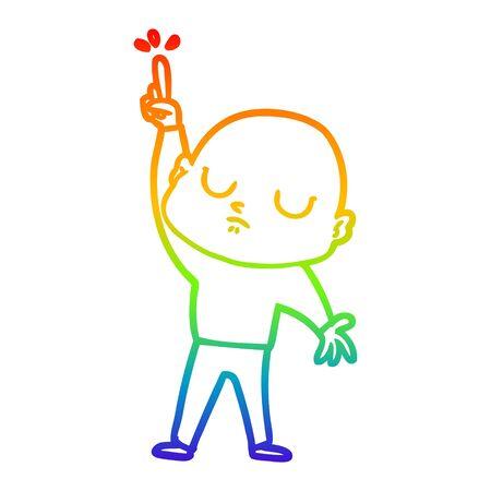 rainbow gradient line drawing of a cartoon bald man