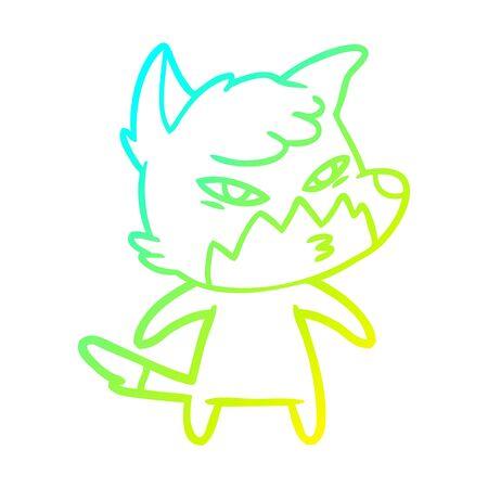 cold gradient line drawing of a clever cartoon fox Ilustração