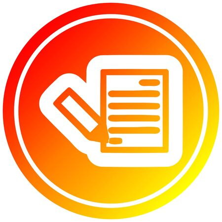 document and pencil circular icon with warm gradient finish