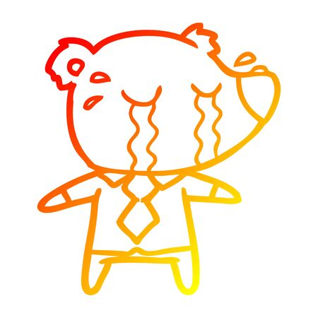 warm gradient line drawing of a cartoon crying bear in shirt Ilustração