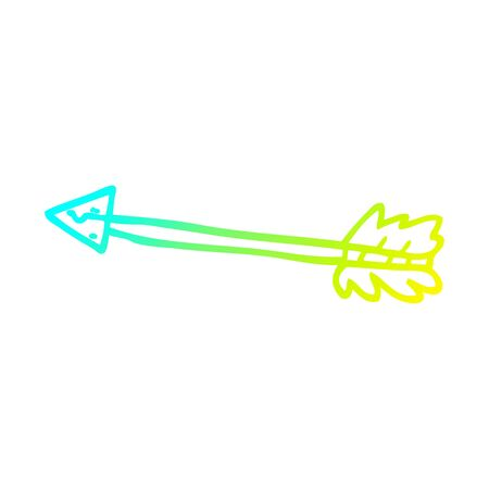 cold gradient line drawing of a cartoon long arrow