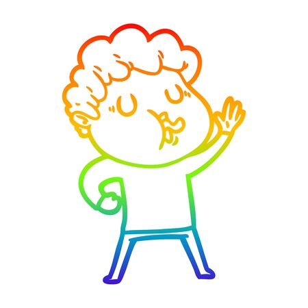 rainbow gradient line drawing of a cartoon man singing