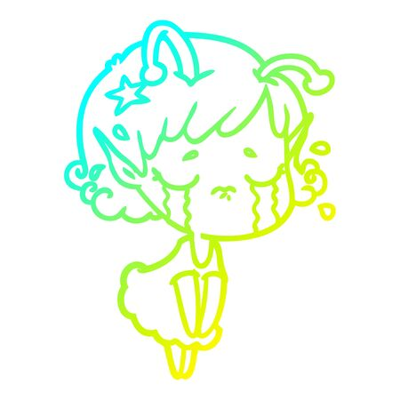 cold gradient line drawing of a cartoon crying alien girl