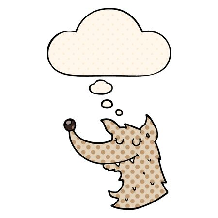 cartoon wolf with thought bubble in comic book style Ilustração