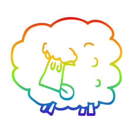 rainbow gradient line drawing of a cartoon black sheep