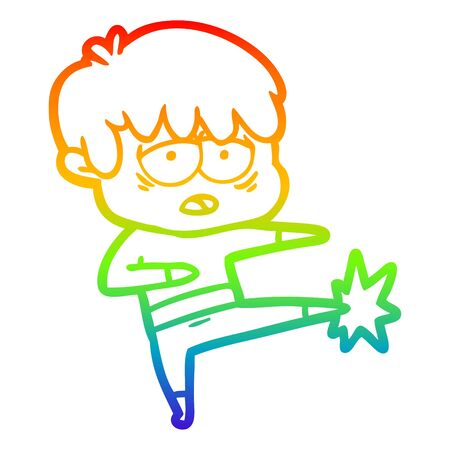 rainbow gradient line drawing of a cartoon exhausted boy doing karate