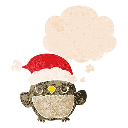 cute christmas owl with thought bubble in grunge distressed retro textured style