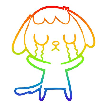 rainbow gradient line drawing of a cute cartoon dog crying