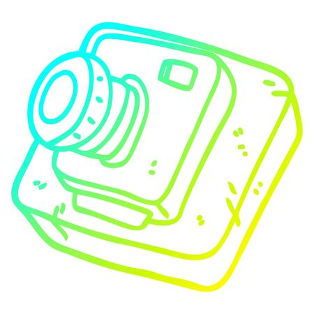 cold gradient line drawing of a cartoon old camera Illustration