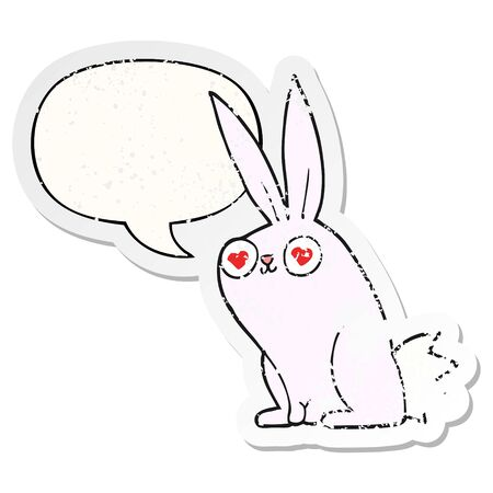 cartoon bunny rabbit in love with speech bubble distressed distressed old sticker