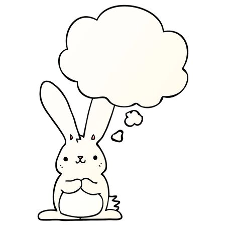 cartoon rabbit with thought bubble in smooth gradient style Stock Illustratie
