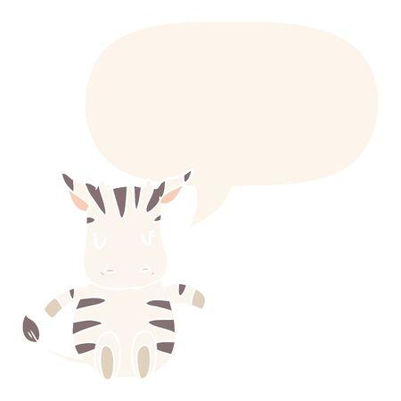 cute cartoon zebra with speech bubble in retro style