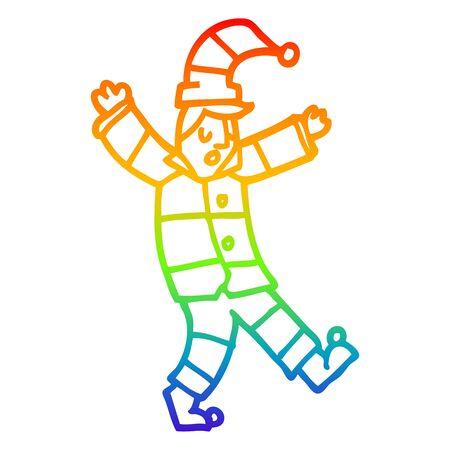 rainbow gradient line drawing of a cartoon man in traditional pyjamas