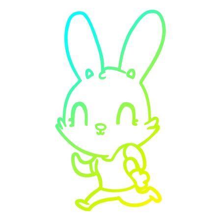 cold gradient line drawing of a cute cartoon rabbit running