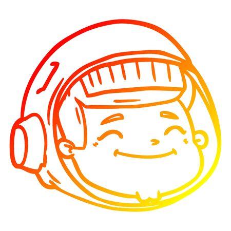 warm gradient line drawing of a cartoon astronaut face 일러스트