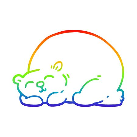 rainbow gradient line drawing of a cartoon content bear sleeping