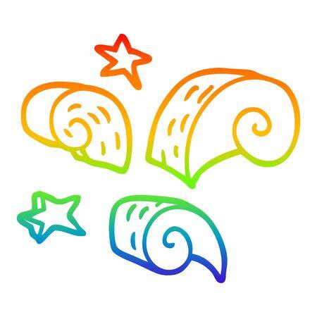 rainbow gradient line drawing of a cartoon decorative spiral element