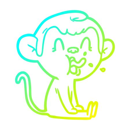 cold gradient line drawing of a crazy cartoon monkey sitting