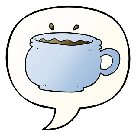 cartoon hot cup of coffee with speech bubble in smooth gradient style