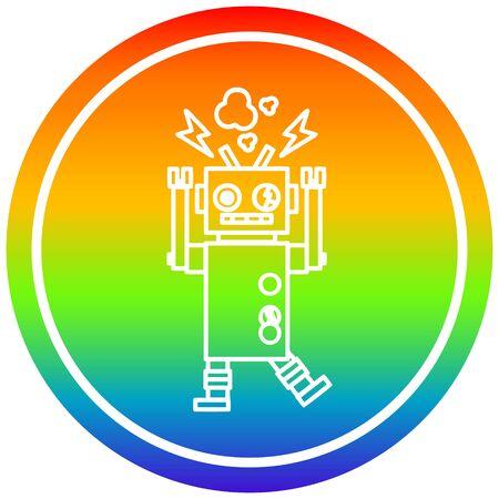 malfunctioning robot circular icon with rainbow gradient finish Illusztráció