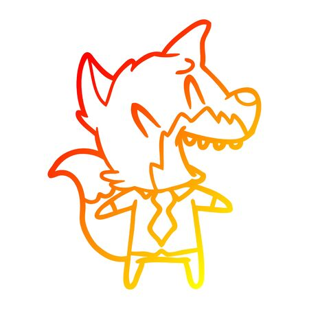 warm gradient line drawing of a laughing fox in shirt and tie