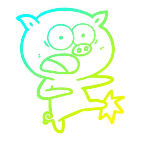 cold gradient line drawing of a cartoon pig shouting and kicking