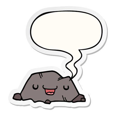 cartoon rock with speech bubble sticker Foto de archivo - 129716213