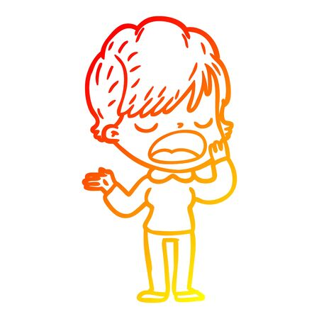 warm gradient line drawing of a cartoon woman talking