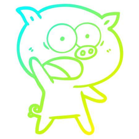 Kalte Farbverlaufslinie Zeichnung eines Cartoon Schweins